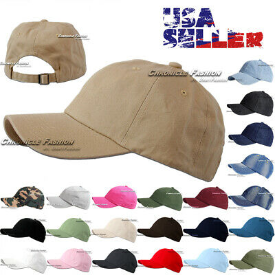 Cotton Baseball Cap Washed Polo Style Hat Plain Adjustable Solid Dad Mens Hats