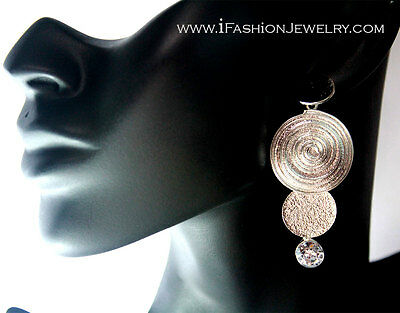3D Big Silver Tone Spiral Round Circle Filigree Geometric EARRINGS Metal Jewelry