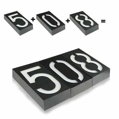 Solar Power 6 LED Light Sign House Hotel Door Address Plaque Number Digits Plate