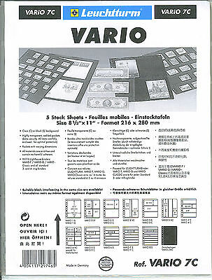 New Vario Stock Sheets 7C One-Sided Horizontal Pockets Clear Pkg. 5
