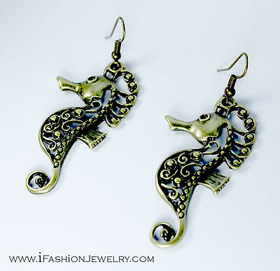 Brass Tone Seahorse Filigree Drop Dangle Metal Earrings Jewelry Gift Sea Lover
