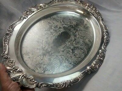 Stunning Vintage Wallace Baroque silverplate  oval tray No.714 17 inches