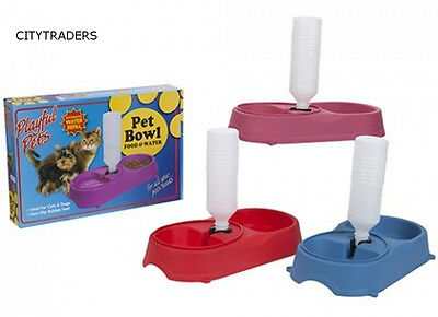 New Double Pet Bowl with Automatic Water Dispenser Dog Cat Puppy Food Feed Dish