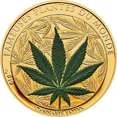 Benin 100 Francs, 27 g CuNi Gold Plated Proof Coin, 2010, Mint, Cannabis Sativa