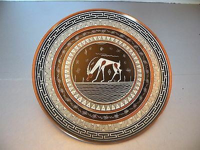 """3M206 Ancient Greek Geometric Copper Handpainted Artist Signed Wall Plate, 7"""""""