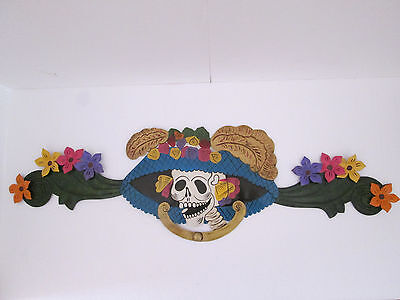 """PUNCHED TIN WREATH day of the dead mexican hand made folk art large 35"""" long"""