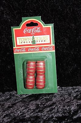 Coca-Cola Town Square Collection Red Miniature Keg Barrels #64302 ~ NEW
