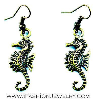 Sea Seahorse Beach Dangle Earrings Bronze Gold Brass Tone Marine Fashion Jewelry