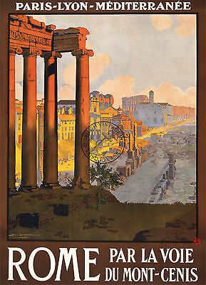 Vintage Poster ROME ITALY TRAVEL by Train Tourism Advert PARIS ART Print A3 A4