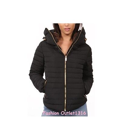 New  Womens Ladies Padded Quilted Puffer Bubble Fur Collar Jacket Coat Size S-XL