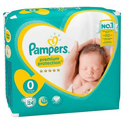 144 Nappies Premium Protect Pampers Size 0 Newborn New baby Monthly Pack Free PP