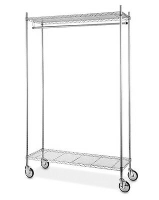 Industrial Chrome Clothing Rack with wire shelving