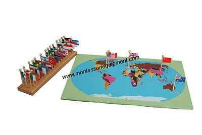 MONTESSORI GEOGRAPHY MATERIAL - WORLD MAP,  FLAGS and STAND - NEW