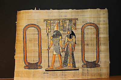 Egyptian Hand-Painted Papyrus Artwork: Horus God Of Protection Leads Queen Nefer