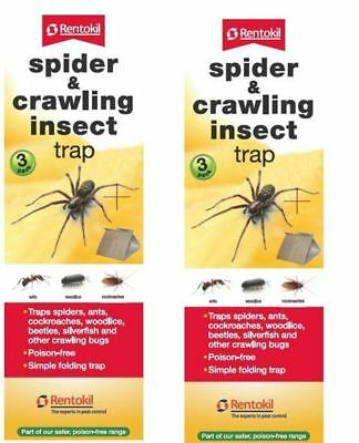 2 x Rentokil Spider & Crawling Insect Trap Ants Woodlice Cockroaches 3 Pack FS58