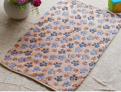 Warm Pet Mat Large Paw Print Cat Dog Puppy Fleece Soft Blanket Bed Cushion uf