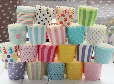 50PC Cake Baking Paper Cup Cupcake Liners Muffin Case Home Christmas Party uf
