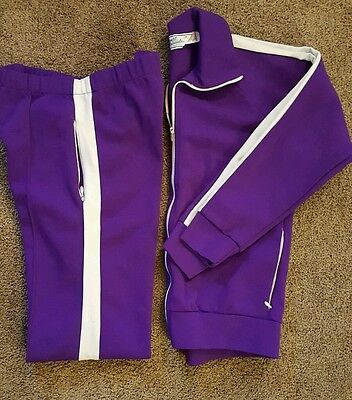 Vintage Medium Court Casuals Track Suit Purple with White Stripe MADE IN USA