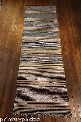 Excellent Handmade Antique Swedish Rag Rug 23 5x84 Inches 1930s