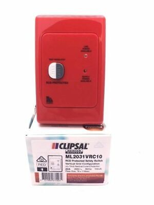 Clipsal ML2031VRC10 RED RCD protected safety switch 2 Pole 20A 10mA vertical RC