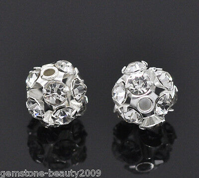 Wholesale HOT Silver Plated Filigree Rhinestone Balls 6-7mm B01573