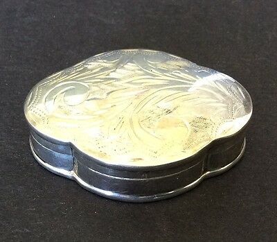 Etched Sterling Silver Pill Box - 16 Grams