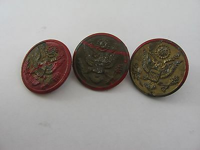 Three Antique Vintage Military Buttons D. Evans & Scovill