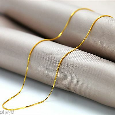Hot New Arrival Solid Au750 18K Yellow Gold Women's Box Chain Necklace 17.7inch