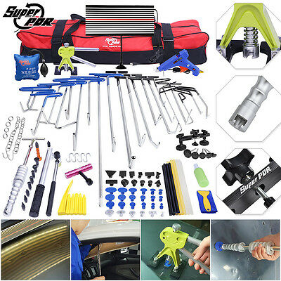 115pc Super PDR Tools Paintless Dent Repair Rods LED Dent Puller Lifter Hammer