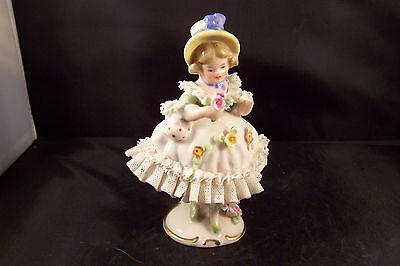 Antique Handmade Dresden Art Figurine Made in Germany Blue Ribbon
