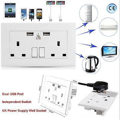 White UK Double Socket USB 13A 2 Gang Port Electric Wall Plug With 2 USB Outlets
