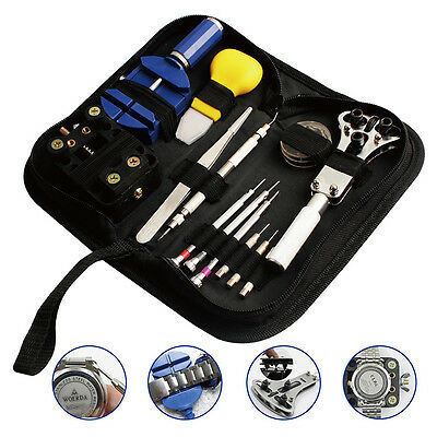 Watch Band Link Pin Case Remover Holder Wrench Screwdriver Repair Tool Kit