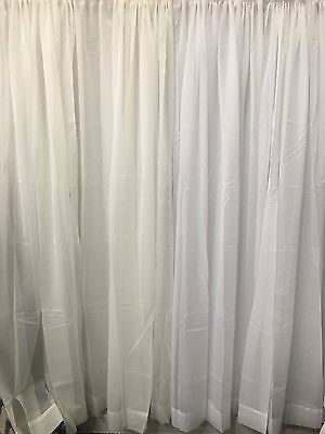 Beautiful 4m or 6m Wide  White and Ivory Sheer Curtain-rod pocket x 213 cm drop