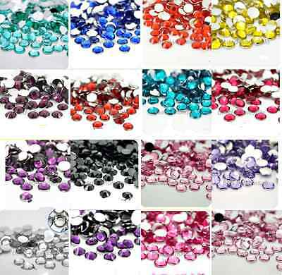 2000Pcs  Crystal Flat Back Resin Rhinestones Gems 2mm, 3mm,4mm.5mm