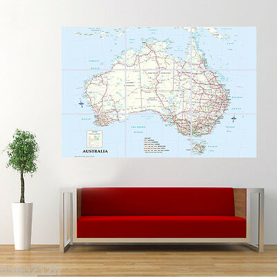 World Map of Australia AU Poster Large Print Wall Art