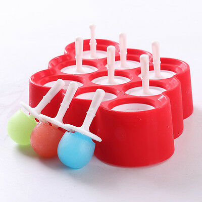 Popsicle Mold Ice Cream Pop 9 Maker Frozen Dessert Treats Silicone DIY Mould
