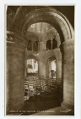 Vintage postcard Church of the Holy Sepulchre, Cambridge interior. Walter Scott