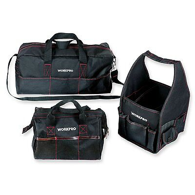 """WORKPRO 3PC Tool Bag Set Multi Function 8"""" Square 12"""" Wide-Open 19"""" Tool Storage"""
