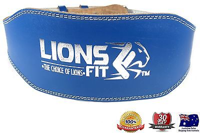 "Lions Fit 6""wide Blue Color Real Leather Weight Lifting, Bodybuilding Gym Belt"