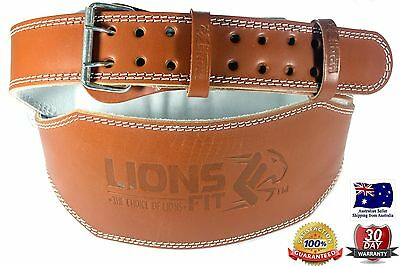 """Lions Fit 6""""wide Brown Color Real Leather Weight Lifting, Bodybuilding Gym Belt"""