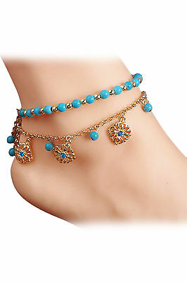 FP Boho Rhinestone Flower Beads Turquoise Foot Chain Anklet
