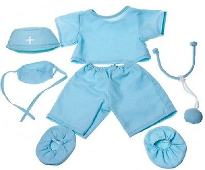 """DOCTOR SCRUBS SIX-PIECE TEDDY OUTFIT CLOTHES FITS 15""""-16"""" (40cm) BUILD A BEAR"""