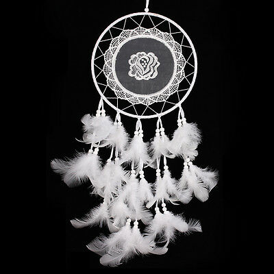 White Handmade Lace Dream Catcher Feather Bead Hanging Decoration Ornament 9.84'