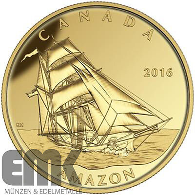 Kanada - 200 Dollar 2016 - Amazon - Tall Ships Legacy (3.) - 1 Oz Gold in PP