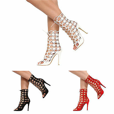 New Womens Lace Up Caged Cut Out Ladies High Heel Open Toe Ankle Shoes Size 3-8