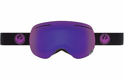 2016 Dragon X1 Frameless Snow Goggles Jet - Purple Ion + Yellow Red Ion Lens