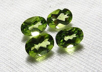 4pc GREEN PERIDOT 4X6mm OVAL CUT facete LOOSE GEMS cut from natural rough