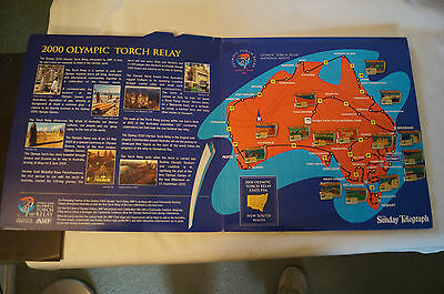 Olympic Games Collectable - Sydney 2000 - Torch Relay Pin Album - 15 Pins-Badges