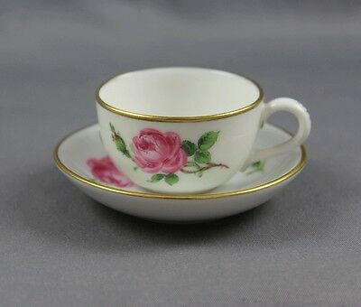 "Antique Meissen Pink Rose Small Demitasse Miniature Cup & Saucer 1"" Swords"
