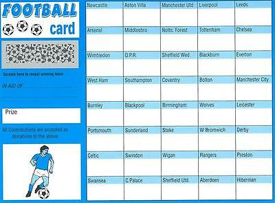 1 Football Scratch & Match Card 40 Teams Names Named Fundraising Charity Event